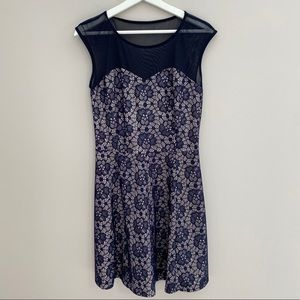 EnFocus Studio Silver With Blue Lace Overlay Dress